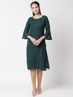 Ethnicity Pleated Teal Long Kurta Tunic with Bell Sleeves