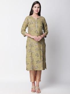 Ethnicity Artisan Olive Long Kurta Tunic with Floral Print
