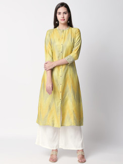 Ethnicity Handcrafted Yellow Watercolor Long Kurta Tunic