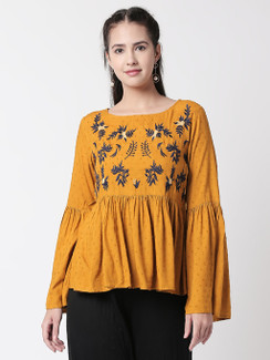 Ethnicity Boho Gathered Mustard Textured and Navy Blue Embroidered Top