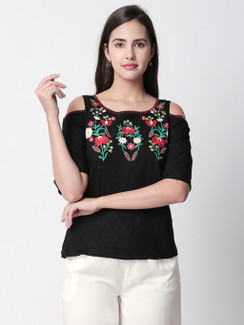 Ethnicity Handcrafted Cold Shoulder Black Top with Floral Embroidery