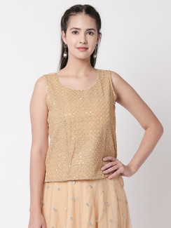 Ethnicity Artisan Gold Sleeveless Mirrored Top