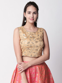 Ethnicity Gold Sleeveless Crop Top with Metallic Embroidery