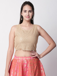 Ethnicity Textured Gold Crop Top with Merrowed Edge