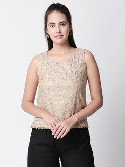 Ethnicity Beige Sleeveless Top with Simple Metallic Embroidery