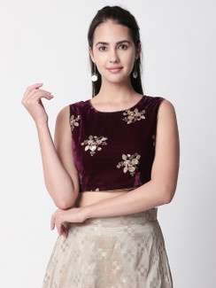 Ethnicity Velvet Plum Crop Top with Floral Metallic Sequencing