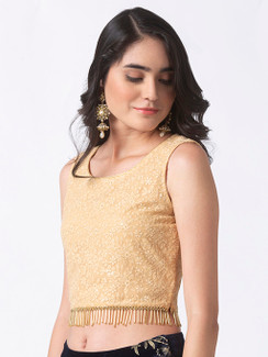 Ethnicity Beige Embroidered Crop Top Hemmed with Tassels