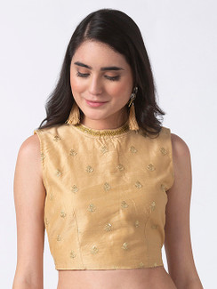 Ethnicity Embroidered Gold Crop Top with Button-down Back