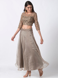 Ethnicity Handcrafted Grey Organza Lehenga Skirt with Embroidered Belt