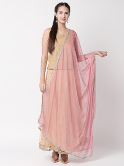 Ethnicity Dust Pink Net Dupatta with Metallic Border