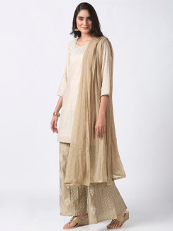 Ethnicity Handmade Solid Beige Suit Set With Unique Printed Palazzo