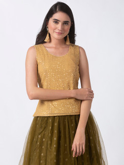 Ethnicity Handcrafted Gold Sequined Sleeveless Top