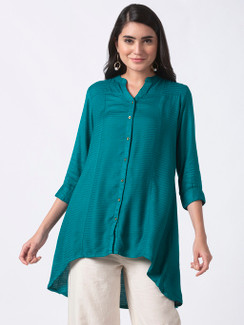 Ethnicity Teal High-Low Kurta Tunic with Functional Button Placket