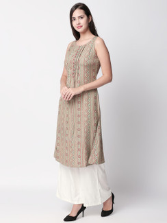 Ethnicity Artisan Sleeveless Beige Long Kurta Tunic with Patterned Lines