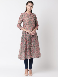 Ethnicity Floral Printed A-Line Grey and Pink Long Kurta Tunic