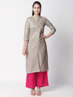 Ethnicity Silver Embroidered and Textured Long Kurta Tunic with Collar
