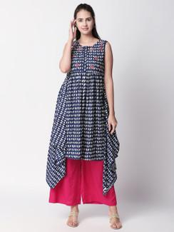 Ethnicity Boho Printed Blue Handkerchief Hem Sleeveless Dress