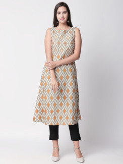 Ethnicity Artisan Printed Mustard Sleeveless Long Kurta Tunic with Pockets