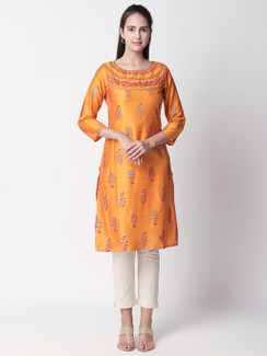 Ethnicity Handcrafted Printed Orange Long Kurta Tunic