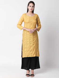 Ethnicity Handcrafted Mustard Lined Kurta Tunic with Button Placket