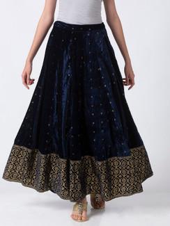 Ethnicity Royal Navy Blue Velvet Lehenga Skirt with Gold Print and Border
