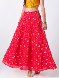 Ethnicity Handcrafted Gold Brocade and Fuchsia Lehenga Skirt