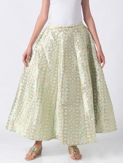Ethnicity Artisan Light Green Geometric Printed Lehenga Skirt