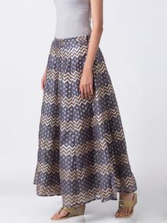 Ethnicity Artisan Blue Gray Zig Zag Printed Lehenga Skirt