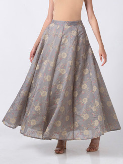 Ethnicity Handcrafted Gold Floral Gray Lehenga Skirt