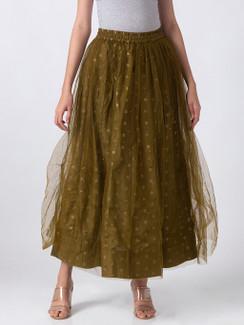 Ethnicity Artisan Olive Lehenga Skirt with Gold Print