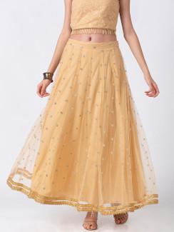 Ethnicity Elegant Gold Lehenga Skirt with Metallic Embroidery