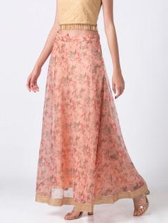 Ethnicity Floral Printed Peach Lehenga Skirt