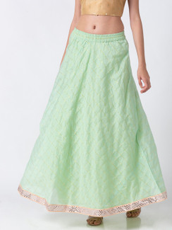 Ethnicity Handcrafted Mint Green Lehenga Skirt with Metallic Details