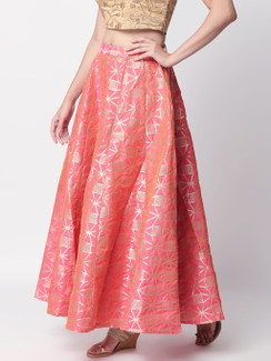 Ethnicity Festive Pink Jacquard Lehenga Skirt