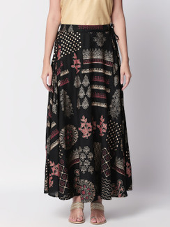 Ethnicity Artisan Boho Printed Black Lehenga Skirt