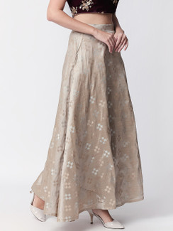 Ethnicity Handcrafted Gray and Beige Lehenga Skirt with Metallic Details