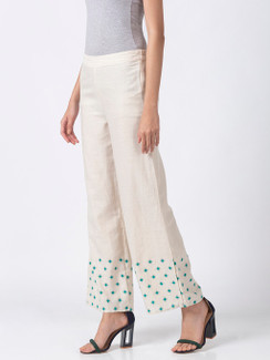 Ethnicity Handcrafted Off-White and Teal Dotted Palazzo Pants