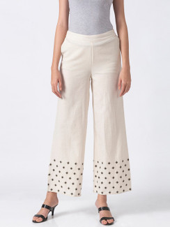 Ethnicity Handcrafted Off-White and Black Dotted Palazzo Pants