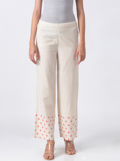Ethnicity Handcrafted Off-White and Red Dotted Palazzo Pants