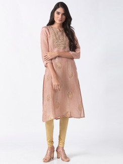 Ethnicity Handcrafted Metallic Embroidered Tea Pink Kurta Tunic