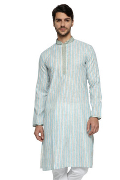 Ethnix Men's Mandarin Collar Fine Blue Stripe with Embroidered Placket Long Kurta Tunic