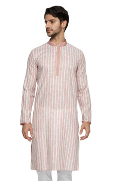 Ethnix Men's Mandarin Collar Fine Pink Stripe with Embroidered Placket Long Kurta Tunic