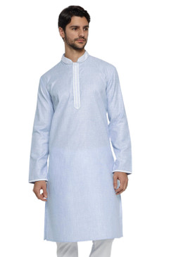 Ethnix Men's Banded Collar Solid Blue Textured with Embroidered Placket Long Kurta Tunic