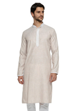 Ethnix Men's Banded Collar Solid Fawn Textured with Embroidered Placket Long Kurta Tunic