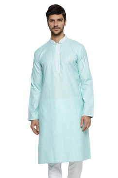 Ethnix Men's Banded Collar Solid Teal Green Textured with Embroidered Placket Long Kurta Tunic