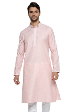 Ethnix Men's Banded Collar Solid Peach Textured with Embroidered Placket Long Kurta Tunic