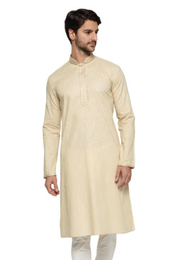 Ethnix Men's Mandarin Collar Pure Cotton Light Beige Hand Embroidered Placket Long Kurta Tunic