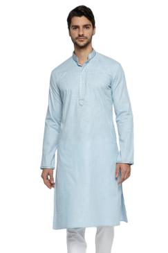 Ethnix Men's Mandarin Collar Pure Cotton Sky Blue Hand Embroidered Placket Long Kurta Tunic
