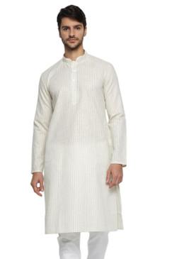 Ethnix Men's Indian Classic Collar Fine Cream Pin Stripe Staple Long Kurta Tunic
