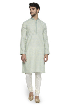 Ethnix Men's Mandarin Collar Solid Mint Green Space Dye with Hand Embroidered Placket Long Kurta Tunic